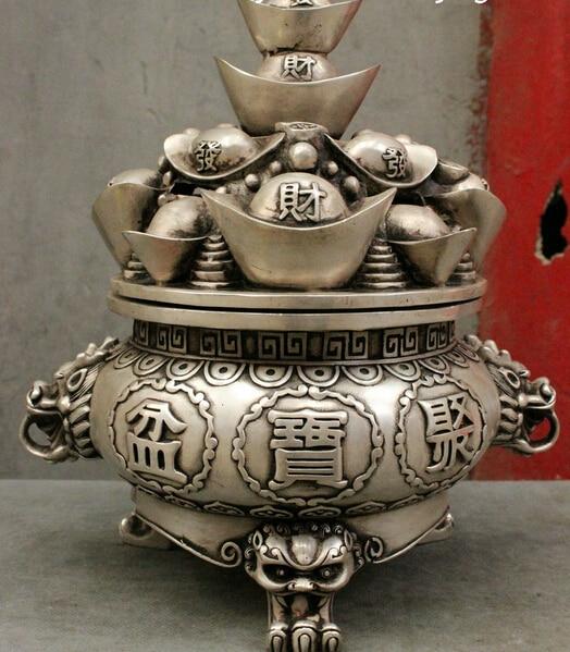 10 plateado China populares YuanBao cuenco de tesoro de riqueza estatua incensario de fábrica al por mayor