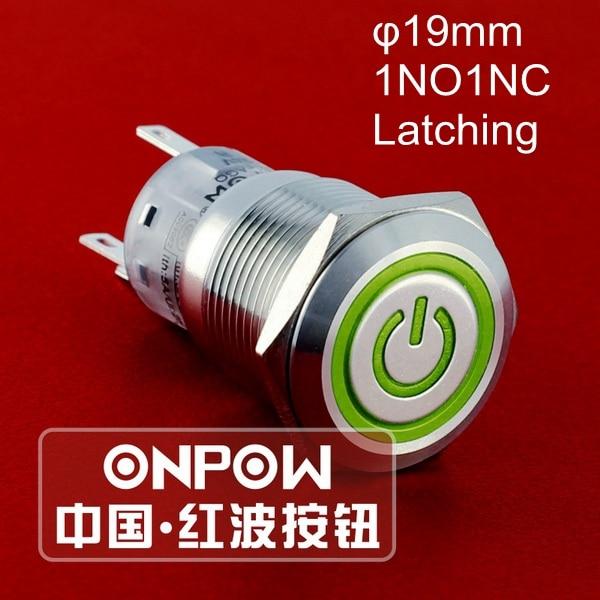 ONPOW 19mm 1NO1NC cierre de acero inoxidable símbolo de potencia/anillo LED interruptor de botón de metal (LAS1-AGQ-11ZET/G/12 V/S) CE, UL, ROHS