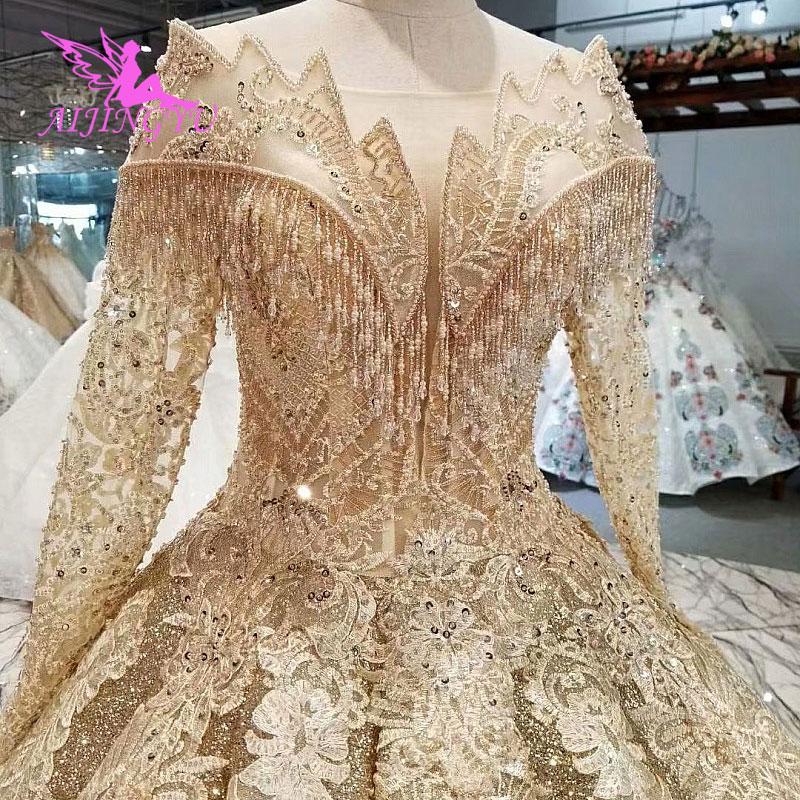 AIJINGYU الزفاف فساتين 2 في 1 أفضل الزفاف أثواب الهندي مثير كوتور 2021 2020 الدانتيل طويل كم الكمال فستان الزفاف