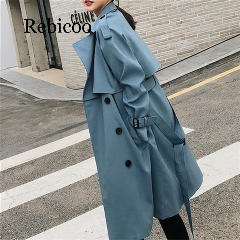 Женская ветровка Rebicoo, свободная Длинная ветровка в Корейском стиле, осень 2019