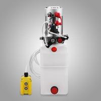 OrangeA Hydraulic Pump 6 Quart Double Acting Hydraulic Pump 12V Plastic Reservoir for Dump Trailer Remotely Controlled