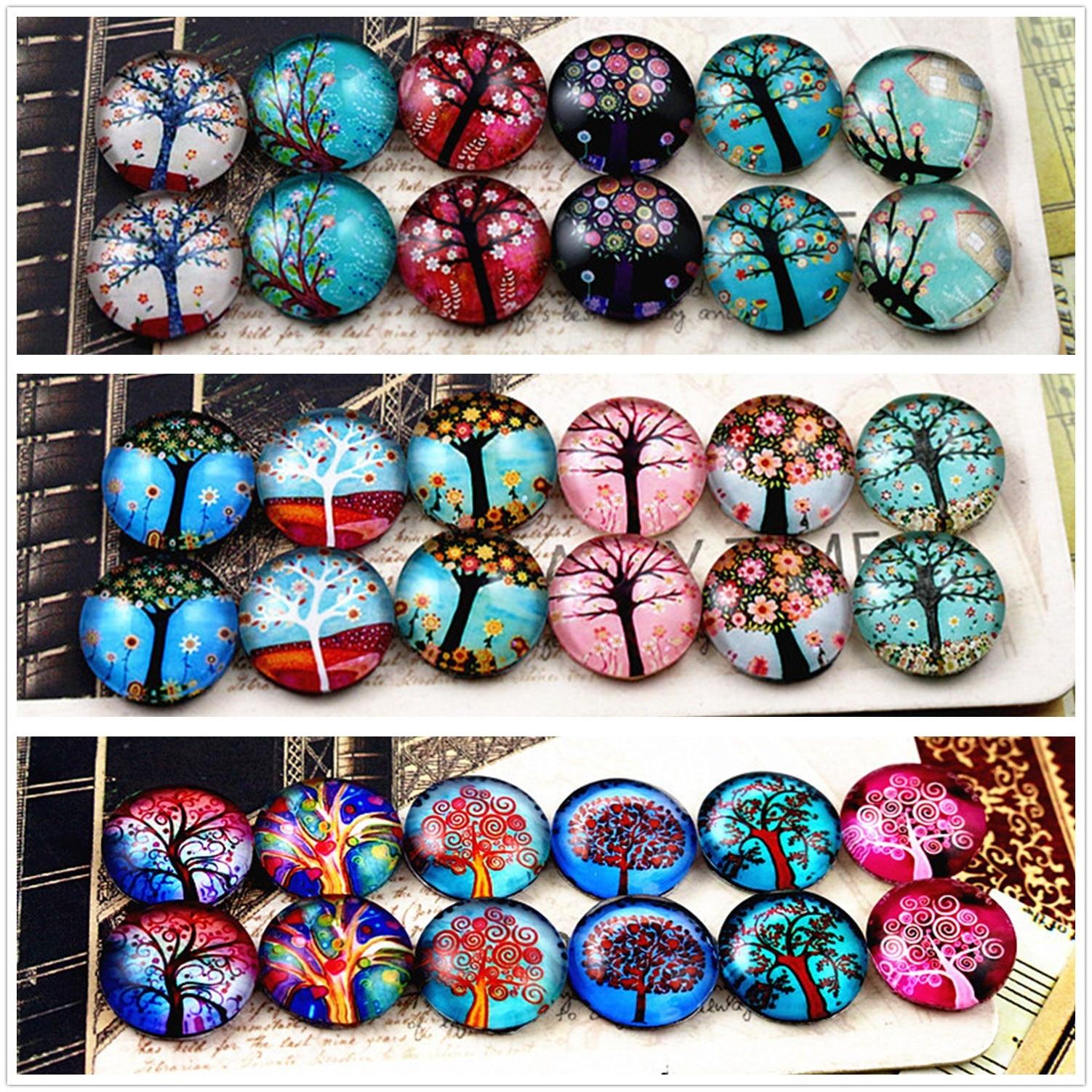 12 pçs/lote (um conjunto) três estilo caber 12mm moda árvore cabochons de vidro artesanal padrão cúpula acessórios jóias suprimentos
