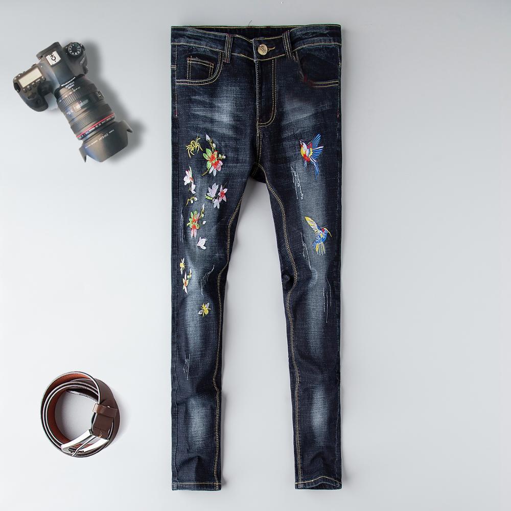 Мужские джинсы стрейч, потертые джинсы в стиле хип-хоп, состаренный дизайн, мужские зауженные брюки с вышивкой, 2019