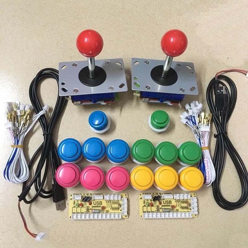 Juego de Arcade KIT de bricolaje para JAMMA MAME 2 codificador USB de retardo cero y 2 joystick de estilo Zippy y pulsador de 12 28 MM y 2 24 MM botón