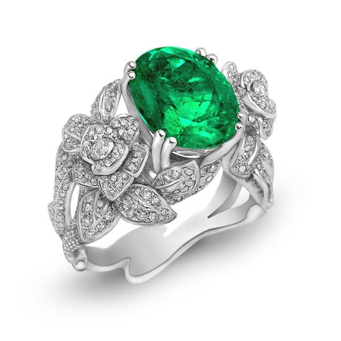 Echt Anillos Qi Xuan_Fashion Jewelry_Boutique CZ Grün Steine Rings_S925 Solide Silve Rings_Manufacturer Direkt Verkäufe
