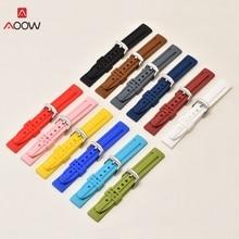 AOOW New Generic Rubber Watch Strap Belt Black White Pink Diving Sport Watch Strap Bracelets for Men 18mm 20mm 22mm 24mm