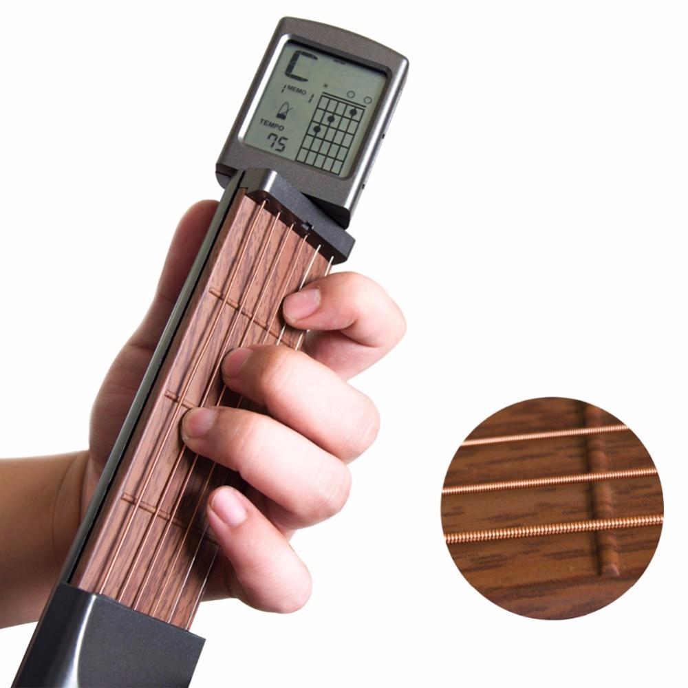 Bolso guitarra acord exercitador solo seis portátil guitarra com tela de exibição exercitador instrumento acessórios
