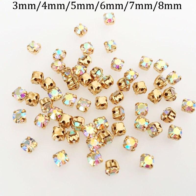 Envío Gratis cristal de color AB forma cuadrada coser en diamantes de imitación garra dorada en miniatura, accesorios de ropa DIY