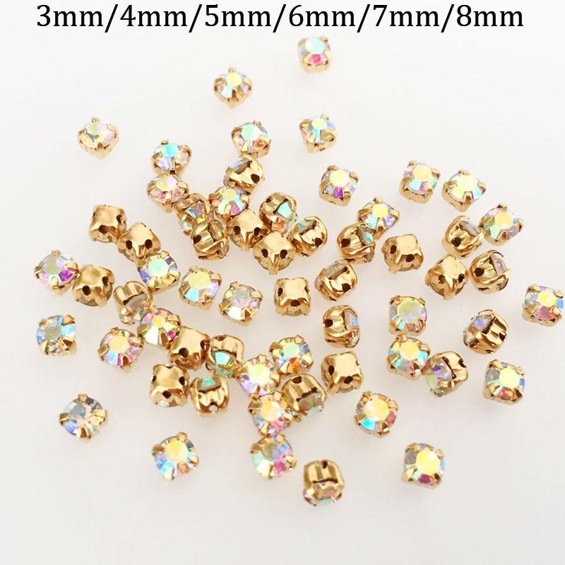 Gratis verzending AB kleur glas vierkante vorm naai strass gold claw, DIY kleding accessoires
