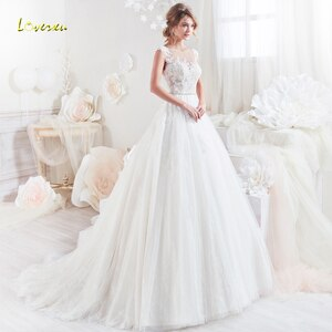 Loverxu Vestido De Noiva Sexy Illusion A Line Wedding Dresses 2019 Appliques Beaded Cap Sleeve Court Train Lace Bridal Gown