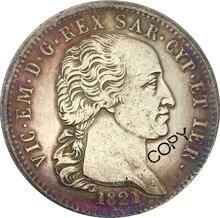 Italie sardaigne 1821 Vittorio Emanuele 5 Lire pièce en laiton plaqué argent