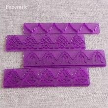 Moules de coupe pour pâtisserie   Ensemble de 4 pièces de Fondant décoratifs à motifs floraux, bordure à glaçage, outil de décoration de gâteaux, cadeau 02013