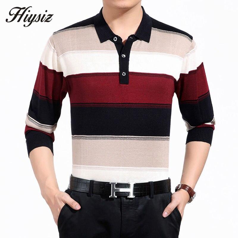 Alta qualidade suéter de lã de caxemira dos homens famosa marca roupas de negócios moda grande listrado turn-down collar pulôver homme 66127