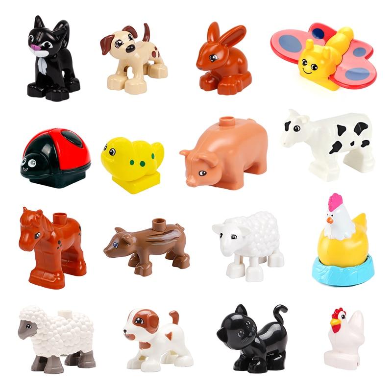 Edificio grande bloque Animal serie Gato perro granja oveja pollo juguetes para niños Compatible con Duplo regalo educativo