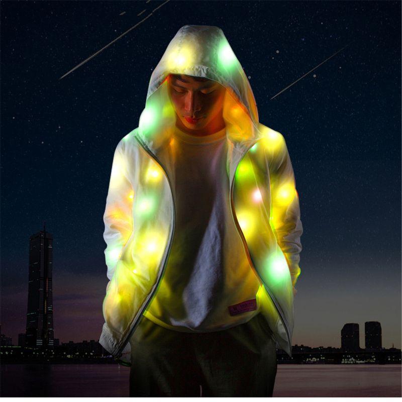 Chaqueta LED iluminada prendas de vestir traje de escenario enfoque completo correr de noche motocicletas ciclismo ropa Bar Pub