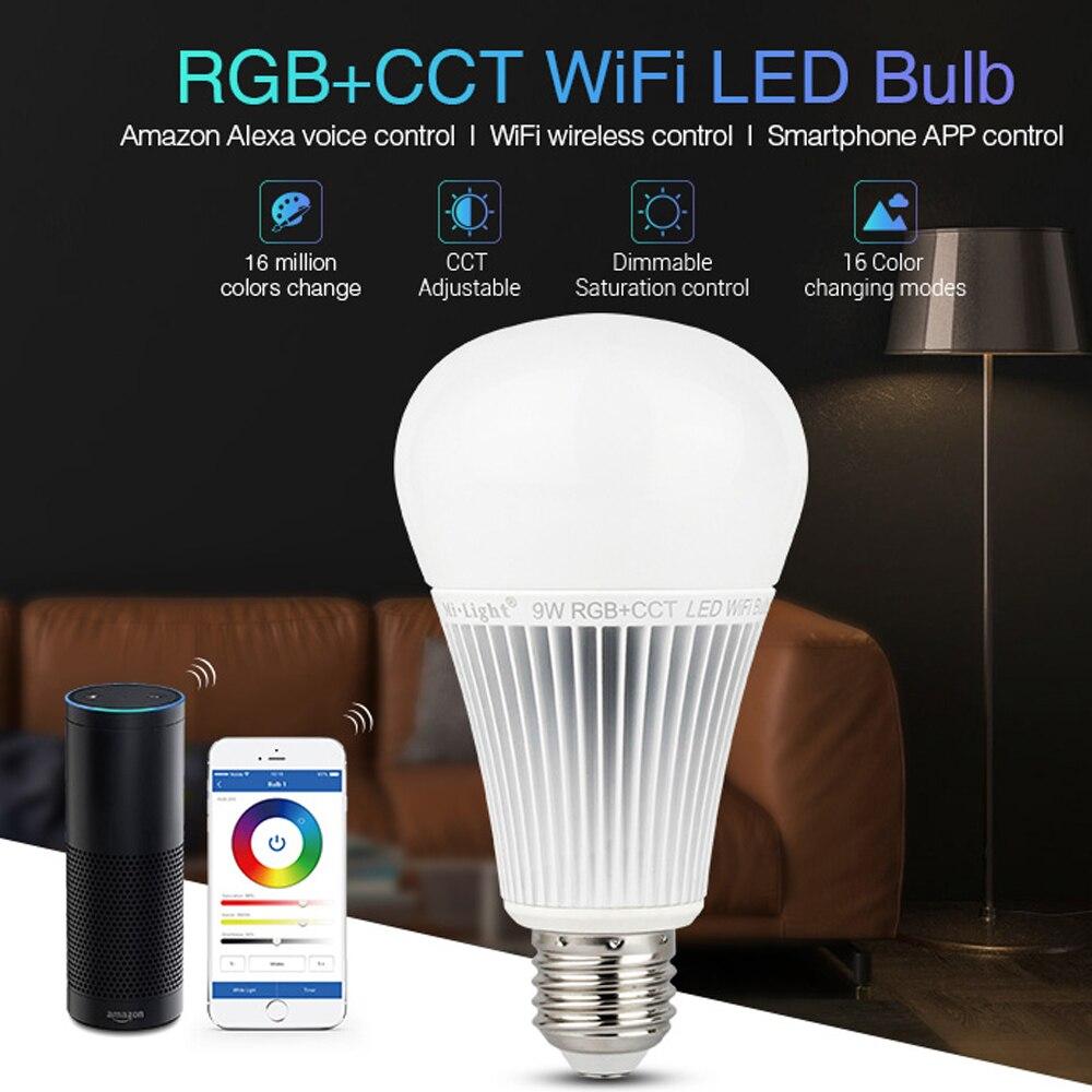 WIFI RGB CCT RGBW bombilla LED lámpara 9W E27 luz LED regulable AC 110V 220V amazon alexa foco multicolor foco milight