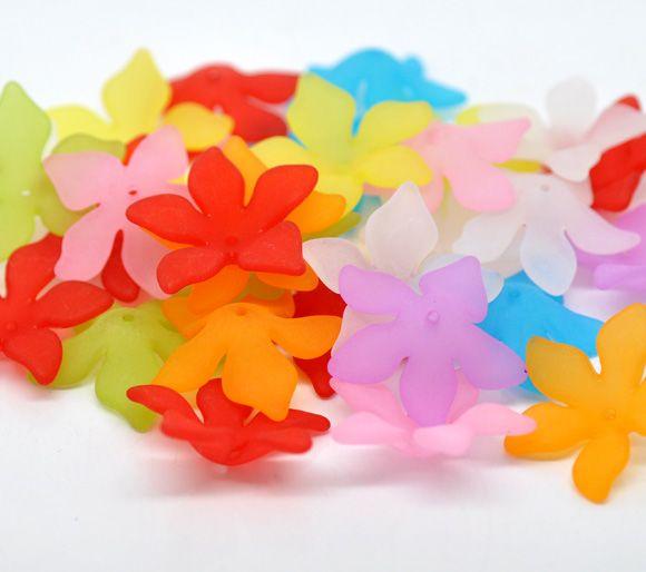 Doreenbeads розница микс разноцветных цветов Матовые акриловые бусины 28x7 мм, продается в упаковке 80