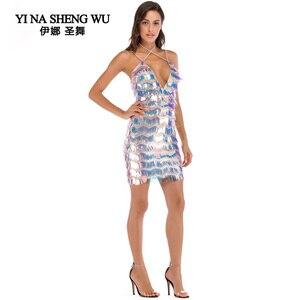 Short Dress Sexy Party Dress Women Short Dress Adult Sequin Dresses Sequin Tassel Party Club Ballroom Dresses Sequin Dancewear