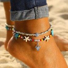 Vienkim Vintage tortue perlé plage femmes cheville mode multicouche couleur perlé bohème sandales cheville fête cadeau