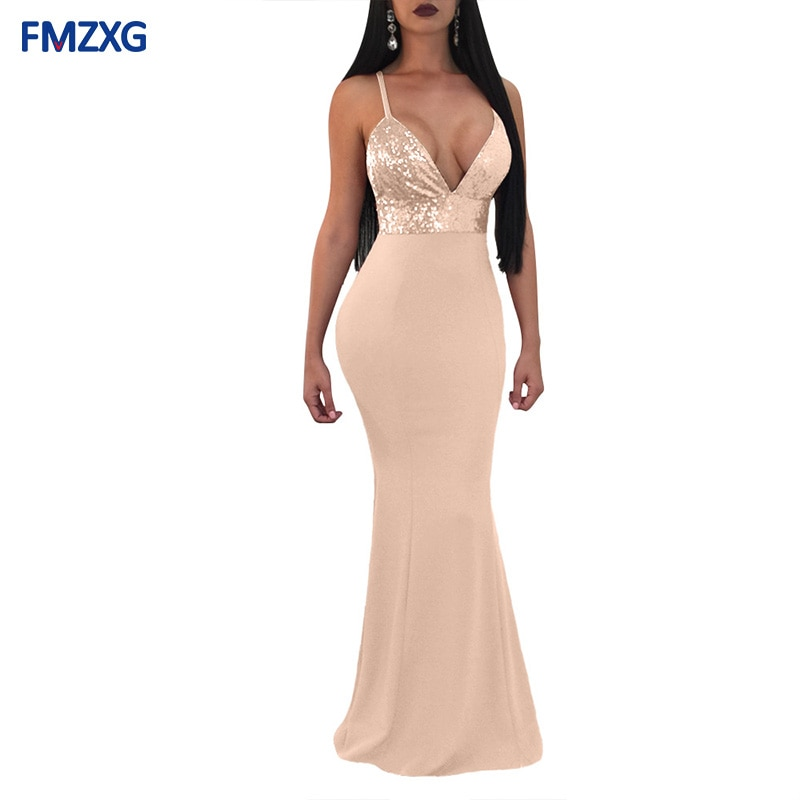 Vestido longo de festa com lantejoulas, elegante, preto, rosa, sexy, slim, costura, cintura alta, decote em v profundo, vestido, feminino vestido de vestido