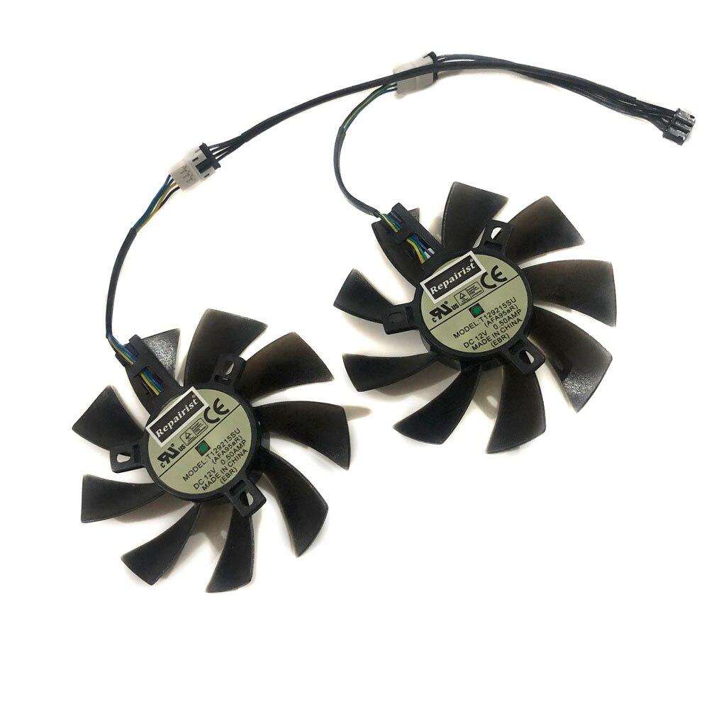 2 pçs/lote GPU RX 470/570 ARMADURA cooler ventilador da Placa De Vídeo Para O sistema de Refrigeração da Placa Gráfica Radeon MSI RX470 RX570 ARMADURA como substituir