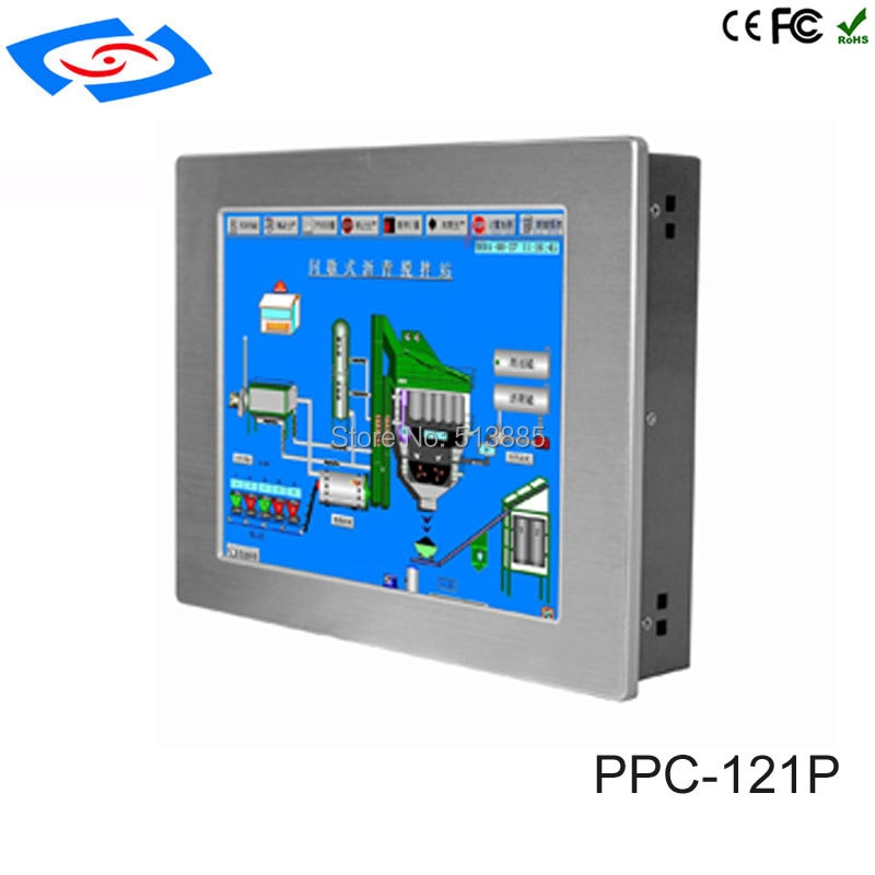12.1 inch Touch screen Industrial Panel PC with 2*LAN 3*USB 4*COM New fanless Tablet pc 4GB RAM 64GB SSD