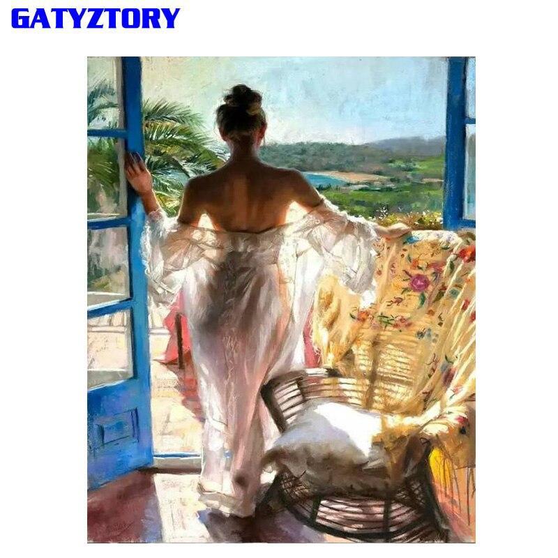 GATYZTORY рамка DIY картина по номеру Женская Картина Настенная картина современная каллиграфия картина для домашнего искусства 60х75см