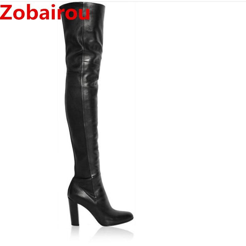 Bota feminina Luxury Women 10 Cm High Heels Black Overknee Thigh High Boots Leather Stockings Chaussure Femme