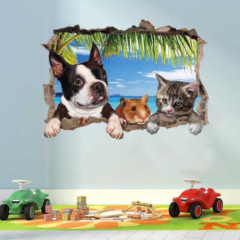 3D кошка собака хомяк животное настенные наклейки с пейзажами для детской комнаты гостиной украшение Фреска домашний Декор наклейки переводки обои