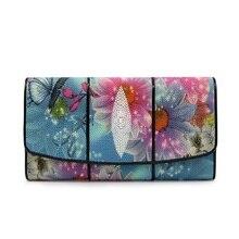 Créateur de mode véritable peau de Stingray bleu vif femmes longue fleur portefeuille grande carte sac à main en cuir exotique femme pochette de téléphone