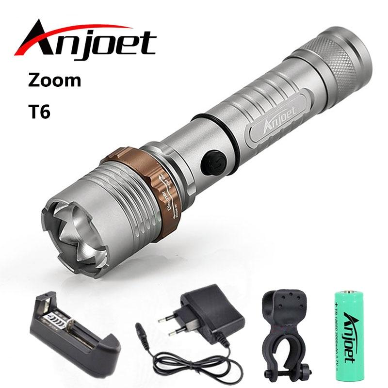 Anjoet фонарик ультра яркий фонарик CREE XML-T6 светодиодный фонарик 5 режимов освещения 8000 люменов Zoom факел использование AAA 18650 батарея
