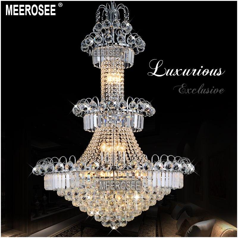 Gran Hotel de plata candelabro con cristales de iluminación de oro o plata brillo lámpara para restaurante vestíbulo escalera MD8514