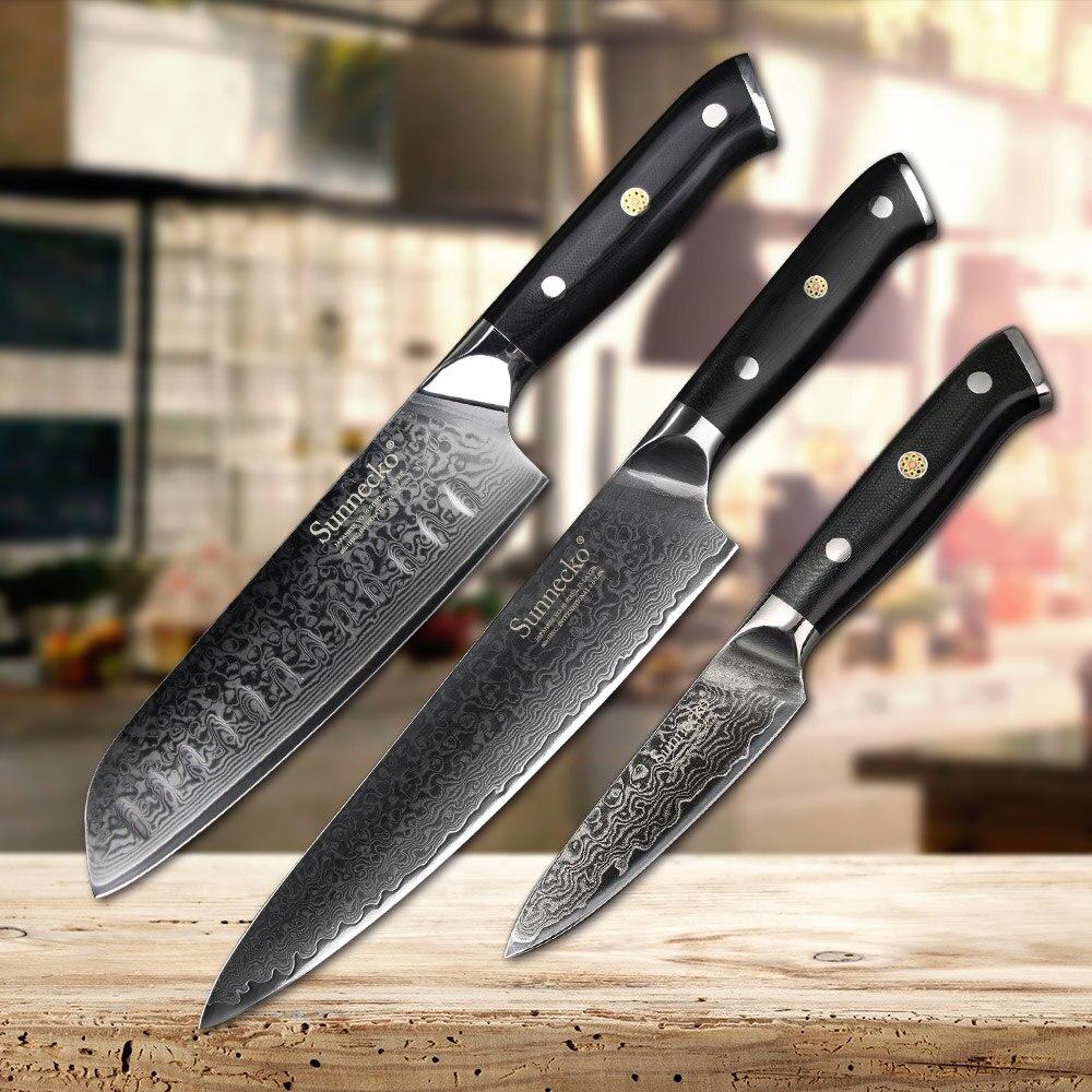 SUNNECKO 3 uds Juego de Cuchillos de Cocina Chef Paring Santoku Kinfe japonés VG10 cuchilla de acero afilada hoja G10 mango Damasco herramienta de cocina