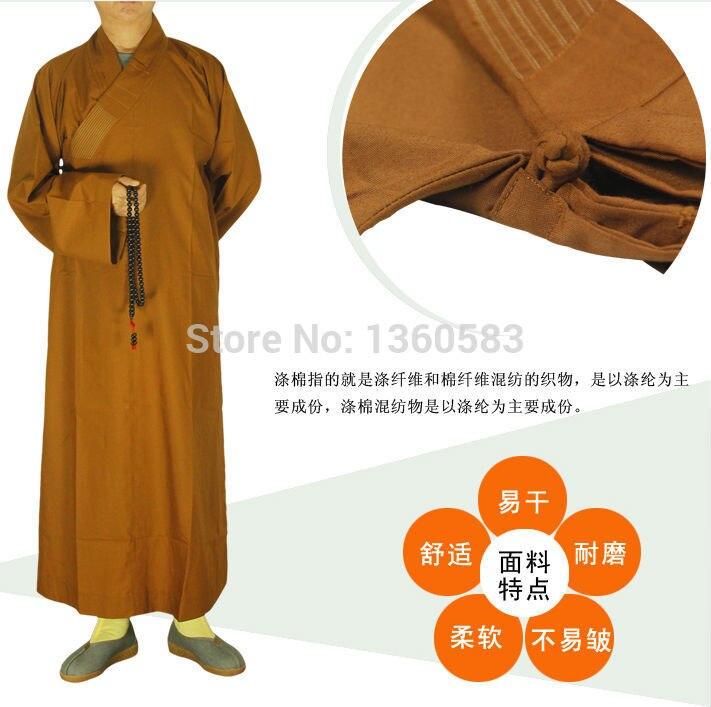 Буддизм буддийский монах одежды мужской хлопок и полиэстер одежда кунг-фу фрок монах костюм длинные халаты платье haiqing шаолинь одежда