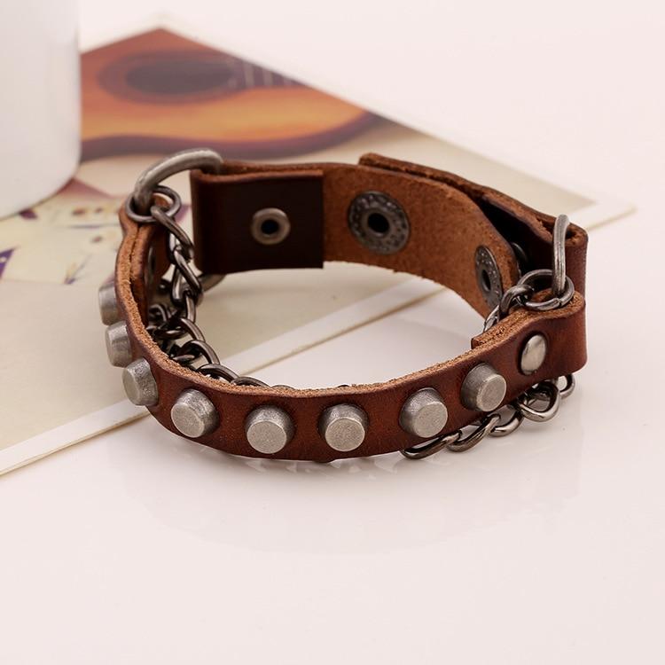 Женский широкий браслет Gypsy Hippie, коричневый широкий регулируемый браслет из натуральной коровьей кожи, с металлической цепочкой в виде змеи