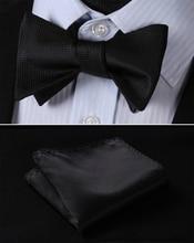 Costume classique carreaux noirs purs   100% soie, Jacquard tissé pour hommes, papillon, nœud papillon, pochette carrée, mouchoir, ensemble costume
