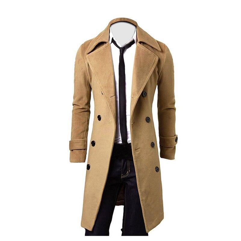 Gabardina larga entallada para hombre, chaqueta larga con doble botonadura, estilo gótico,...