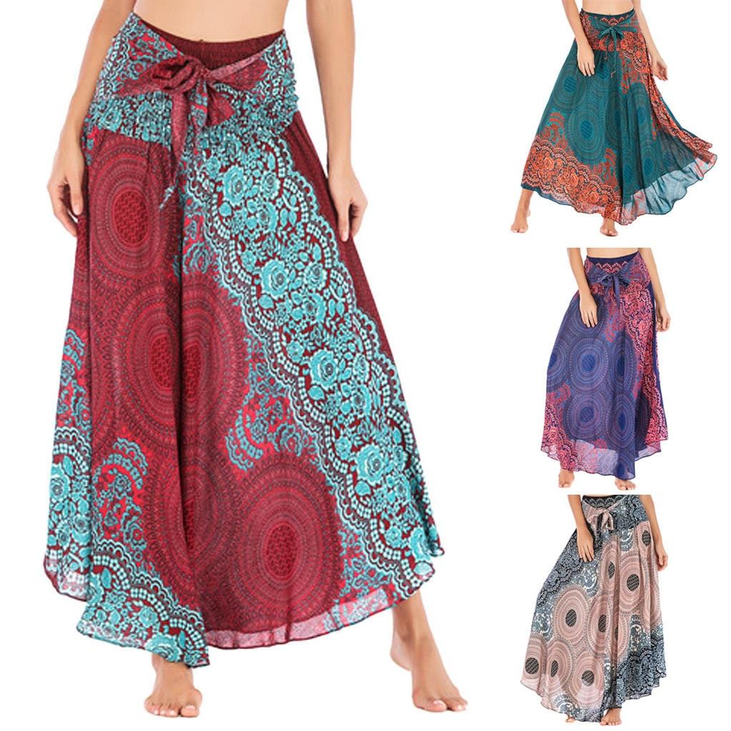 Falda de mujer Womail verano largo Hippie bohemio gitano flores bohemias cintura elástica Floral Halter falda Casual 2020 f9