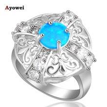 Énorme ange designers femmes anneaux populaire bleu feu Opalo argent estampillé bagues mode bijoux USA taille #6.5 #5.5 #7.5 OR346