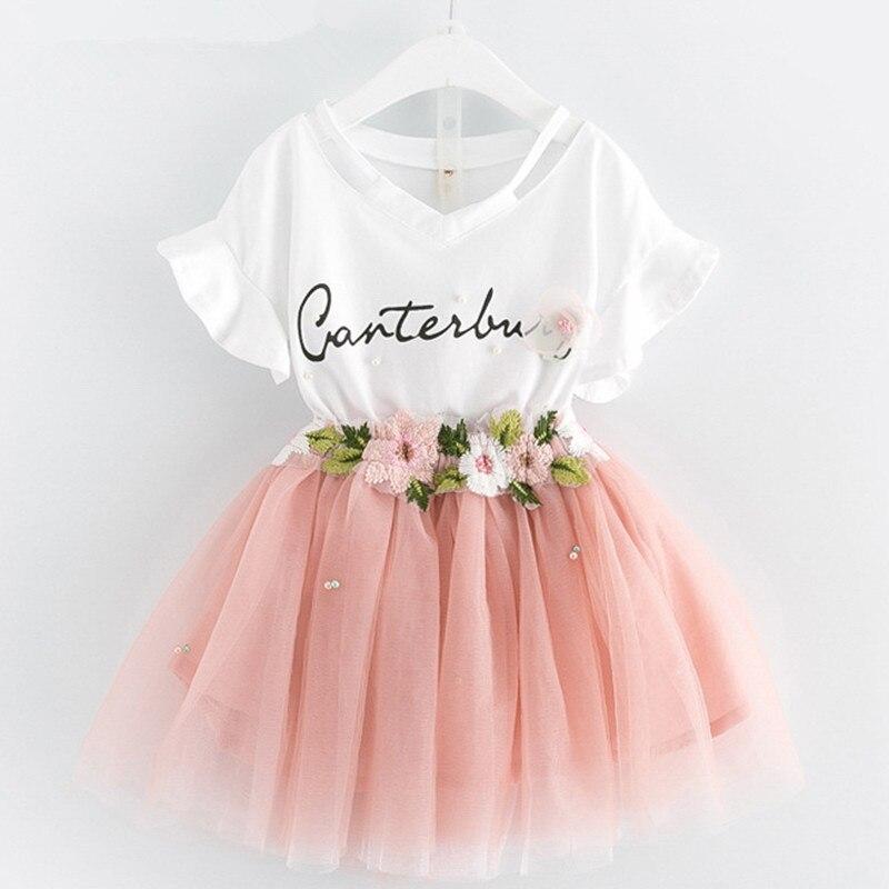 Meninas Vestido de 2019 Marca a Roupa Dos Miúdos Borboleta Carta Manga T-camisa + Floral Voile Vestido 2 Pcs para Vestuário define As Crianças Se Vestem