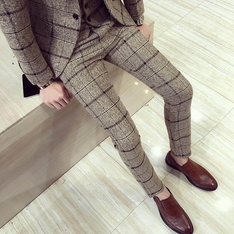 الخريف الشتاء الرجال منقوشة السراويل البريطانية سليم صالح سروال فستان الرجال حجم كبير بنطلونات Carreaux أوم السراويل الرسمية غير رسمية للرجال