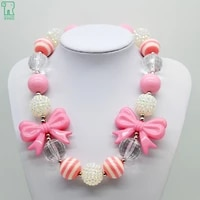 girls chunky beads necklaces 2020 kids bow pendants children fashion best friend gift accessories toddler chunky beads necklaces