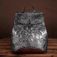 Haute qualité en cuir véritable en relief femmes sac à dos Vintage Style National sac à dos sac décole sac à dos voyage sac à dos décontracté