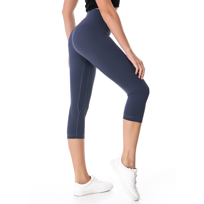 NWT Eshtanga Woman Capris Top Quality Women Yoga High Elastic Waist Solid Skinny Stretch Leggings Size XXS-XL Free Shipping