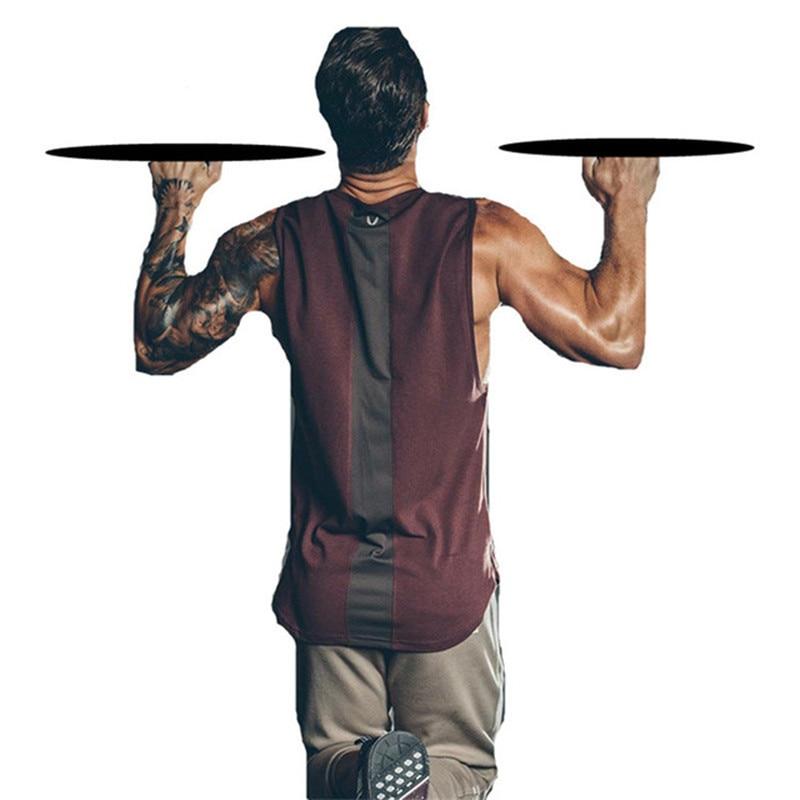 Débardeur de Fitness hauts hommes musculation t-shirts sans manches couleur contraste maillot de corps gymnases Singlets noir blanc rouge débardeur