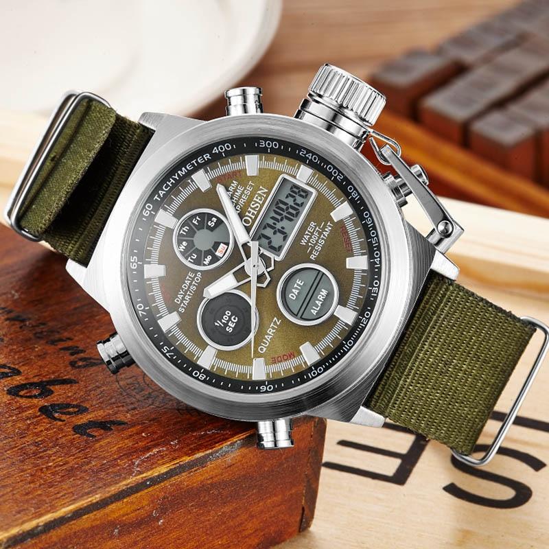 Military Men Sports Watches with Nylon Strap Fashion Brand Digital Analog Watch Army Waterproof Male LED Clock Relogio Masculino