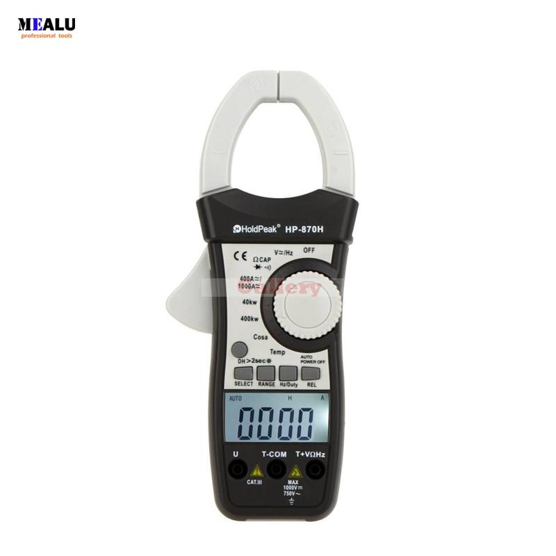HP-870H Dupla Afixação AC/DC Clamp Meter Tensão Resistência Atual Capacitância Frequência Temperatura Multímetro Digital