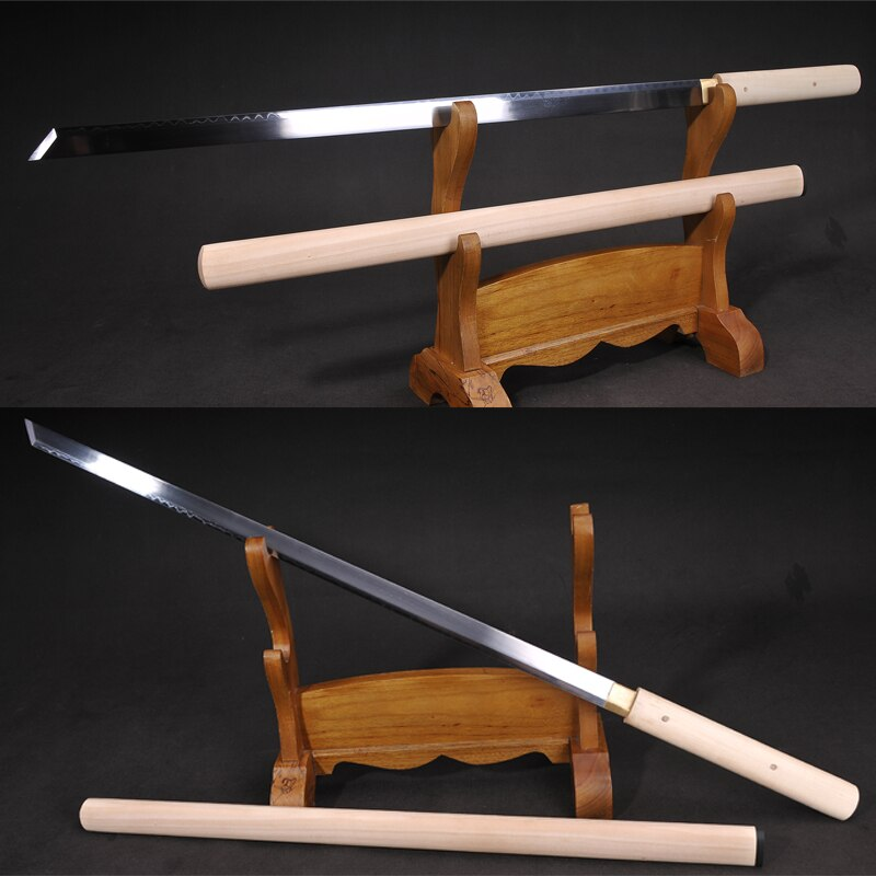 Katana de Samurai japonés hecha a mano 1095 de acero de arcilla Temple Real Hamon Full Tang Ronin espada hoja recta-Shirasaya Sharpness
