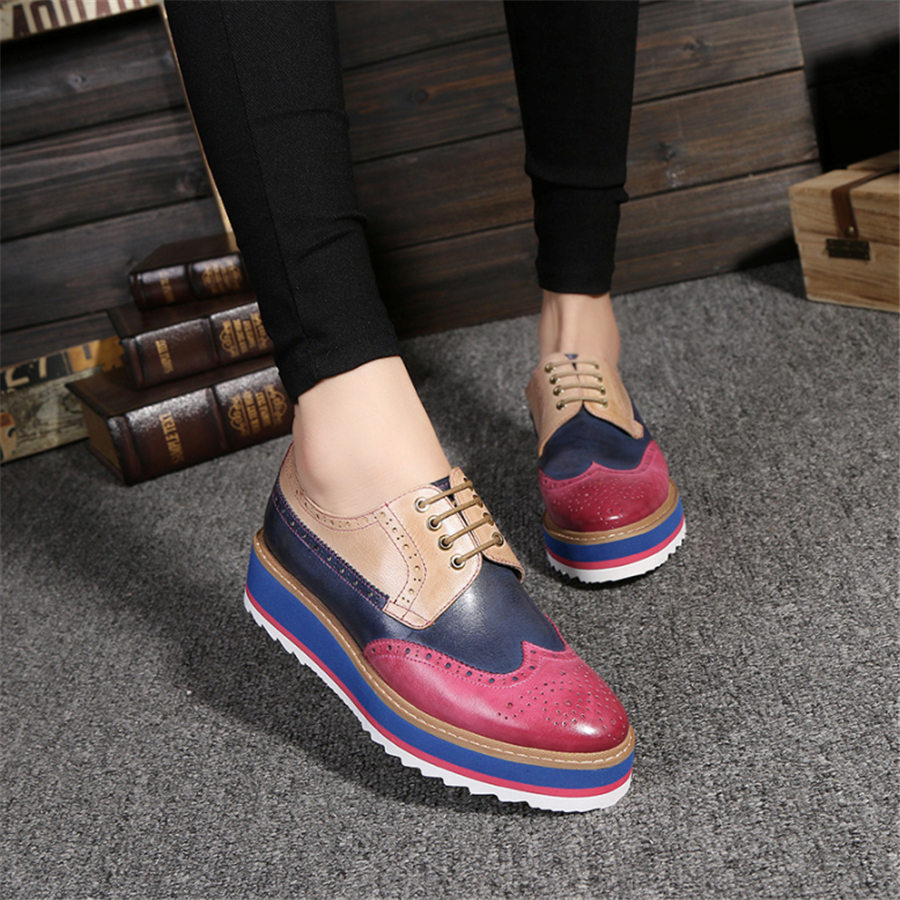 Genuine sheepskin leather brogue designer vintage yinzo flat shoes handmade flat platform red oxford shoes for women 2020 spring