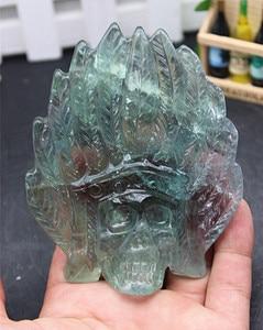 Natural quartz crystal green fluorite sculpture skull aura sculpture home decoration accessories  217g